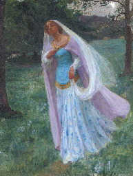 A maiden in a moonlit wood