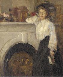 Femme devant la cheminée