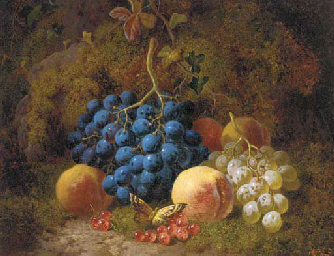 Grapes, peaches, redcurrants,