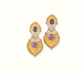 A PAIR OF YELLOW SAPPHIRE, PIN