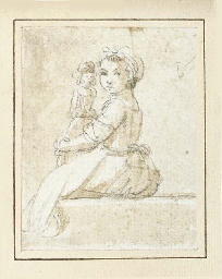A seated girl with a doll