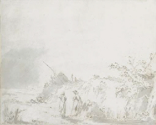 Landscape with country folk