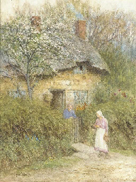 Women at a cottage gate, Moon'