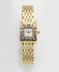 CARTIER, A LADY'S 18ct. GOLD QUARTZ WRISTWATCH signed Cartier, circa 1980.