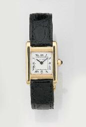 CARTIER, A LADY'S 18ct. GOLD WRISTWATCH signed Cartier, Model: Tank, circa...