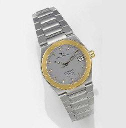 IWC, A STEEL AND GOLD AUTOMATIC CALENDAR CENTRE SECONDS WRISTWATCH signed...