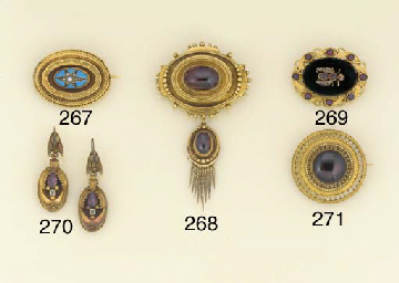 A 19th century gold and caboch