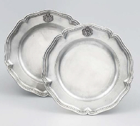 A pair of German silver dinner