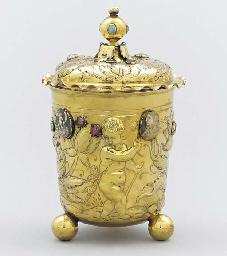 A German gem-set silver-gilt b