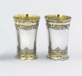 A pair of German parcel-gilt b