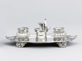 A George IV silver inkstand