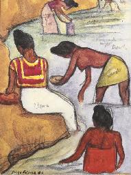 Mujeres bañandose en el río