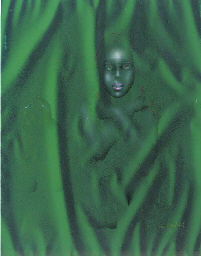 Head of a girl in green