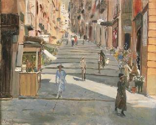 Sulla scalinata a Napoli