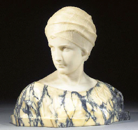 A marble and alabaster bust of