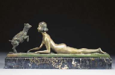 A silvered and green patinated