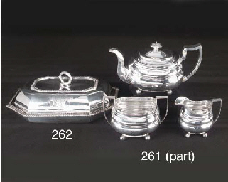 An Assembled Three-Piece George III Silver Tea Service