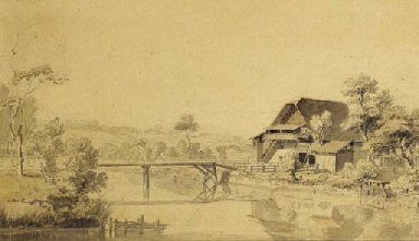 A cottage and small bridge in