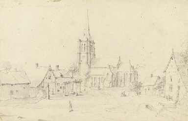 View of a town with a church b