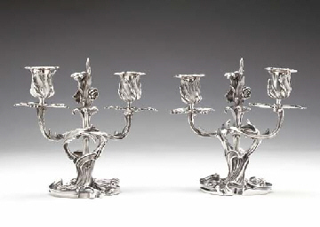 A PAIR OF FRENCH SILVER CANDLE