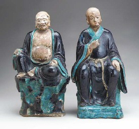 A PAIR OF FAHUA FIGURES OF LUO