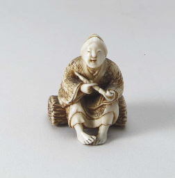 Ten Ivory Netsuke and One Wood