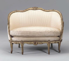 A LOUIS XV CREAM-PAINTED CANAP