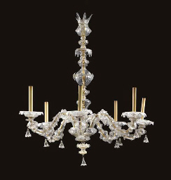 A VENETIAN CLEAR GLASS SIX-LIG