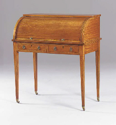 A LATE VICTORIAN SATINWOOD CYL