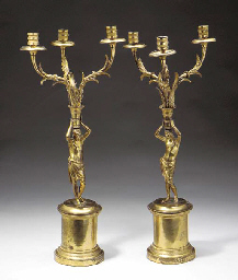 A PAIR OF EMPIRE ORMOLU THREE-