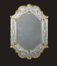 A VENETIAN STYLE ETCHED MIRROR