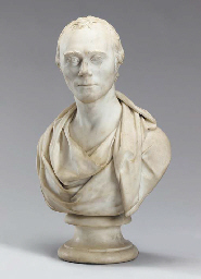 A WHITE MARBLE BUST OF SPENCER