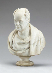 A WHITE MARBLE BUST OF AN ENGL