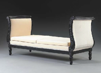 AN ANGLO-INDIAN EBONY DAYBED,