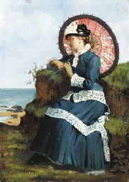 An Elegant Lady by the Shore w