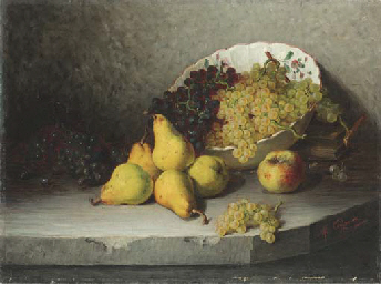 A Bowl of Grapes with Pears an