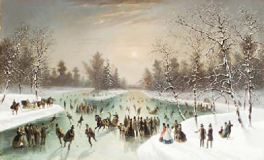 Skaters in a Snowy Landscape