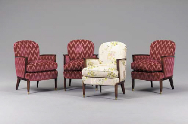 A SET OF FOUR UPHOLSTERED ROSE