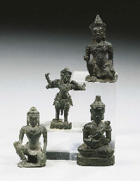 four khmer bronze figures of g