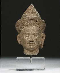 a khmer sandstone head of a ma