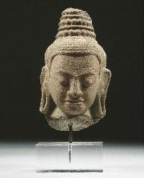 a thai sandstone head of lokes