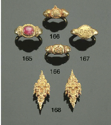 a pair of javanese gold ear ri