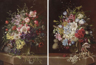 Floral Still Life: A Pair of W