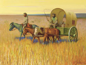 Trappers with Red River Cart