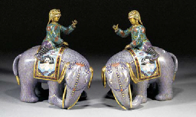 A pair of cloisonne elephants