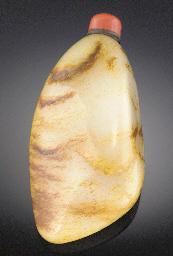 A large pebble form jade snuff