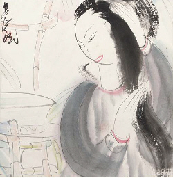 A Chinese watercolour on paper