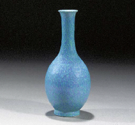 A robin's egg pear shaped vase