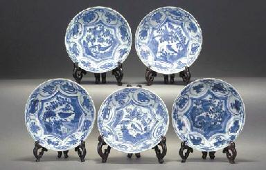A Set of Five Kraak dishes Wan