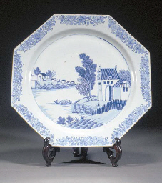 A blue and white octagonal cha